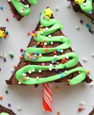 Árbol de Navidad de brownie de chocolate